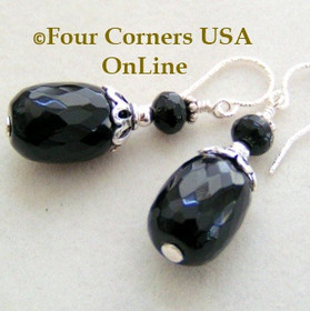 Faceted Black Onyx Sterling Silver Beaded Pierced Drop Earrings FCE-12002 Four Corners USA OnLine Artisan Handcrafted Jewelry