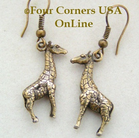 Antiqued Brass Giraffe Handcrafted HypoAllergenic Fashion Earrings FCE-12006 Four Corners USA OnLine Artisan Handcrafted Jewelry