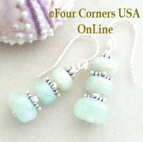 Faceted Aquamarine Triple Stone Handcrafted Beaded Pierced Earrings FCE-12005 Four Corners USA OnLine Artisan Handcrafted Jewelry
