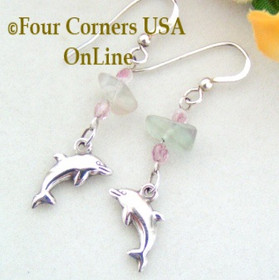 Sterling Silver Dolphin Fluorite Summer Fun Pierced Earrings FC-12002 Four Corners USA OnLine Artisan Handcrafted Jewelry
