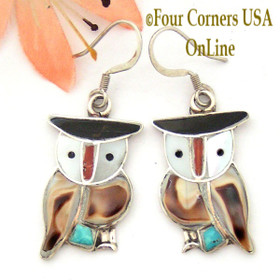 Owl Inlay Sterling Earrings Native American Indian Zuni Jewelry Pitkin Natewa with Shell Turquoise Coral NAER-09196 Four Corners USA OnLine