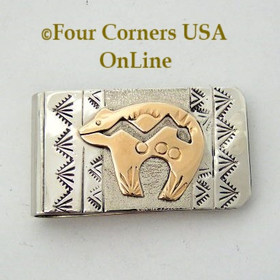 Heartline Bear Gold and Sterling Money Clip Native American Silver Jewelry Navajo Artisan Roger Jones NAM-09115 Four Corners USA OnLine