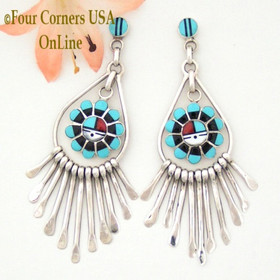 Zuni Multi-Stone Sun Face Sterling Silver Fringe Dangle Post Earrings (NAER-09199