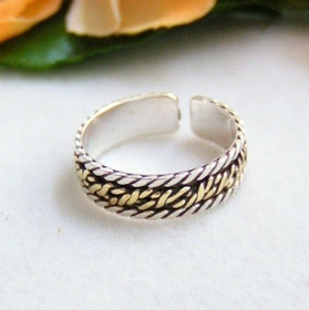 Two Tone Sterling Silver and Gold Adjustable Toe Ring