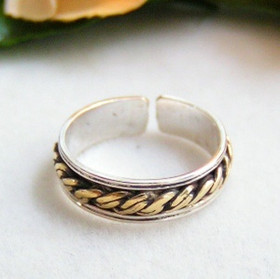 Two Tone Gold and Sterling Silver Adjustable Toe Ring Summer Jewelry