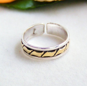 Two Tone Sterling Silver and Gold Adjustable Toe Ring Jewelry