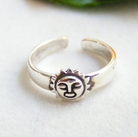 Sun Face Sterling Silver Adjustable Toe Ring
