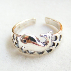 Happy Whale Sterling Silver Adjustable Toe Ring