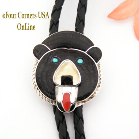 Black Bear Inlay Sterling Silver Leather Bolo Native American Zuni Paul Peyketewa, Jr Four Corners USA OnLine NAM-09116
