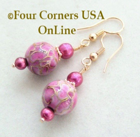 24K Gold Rosy Mauve Cloisonne and Freshwater Pearl Dangle Pierced Earrings FCE-12003 Four Corners USA OnLine Artisan Jewelry