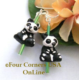 Panda Bear Glazed Ceramic Handcrafted Sterling Silver Earrings FCE-12012 Four Corners USA OnLine Artisan Jewelry