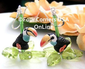 Tropical Toucan Bird Glazed Ceramic Handcrafted Sterling Silver Earrings FCE-12013 Four Corners USA OnLine Artisan Jewelry
