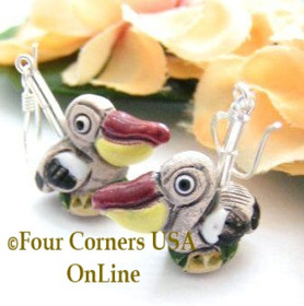 Stork Glazed Ceramic Handcrafted Sterling Silver Earrings FCE-12015 Four Corners USA OnLine Artisan Jewelry