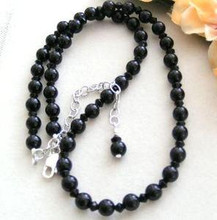 Jet Black Onyx 6mm Beaded Adjustable Necklace from 17 to 20 Inch