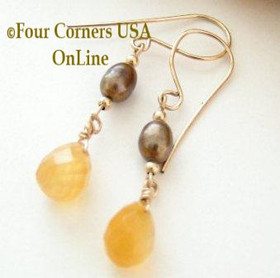 Golden Honey Natural Carnelian Faceted Top Drilled Briolette 14KGF Pierced Earrings FCE-12022 Four Corners USA OnLine Artisan Handcrafted Jewelry