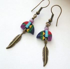 Multi Color Zuni Style Inlay Fetish Bear and Feather Handcrafted Earrings