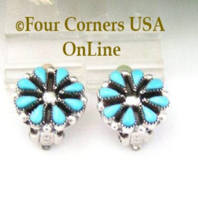 Petite Blossom Turquoise Clip On Earrings Native American Navajo Jewelry Four Corners USA OnLine NAER-092014