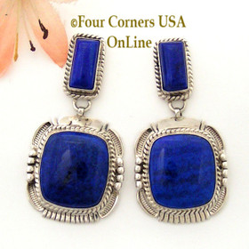 Natural Lapis Lazuli Native American Indian Navajo Sterling Silver Post Earrings Jewelry by Bennie Ration NAER-092018 Four Corners USA OnLine