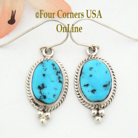 Sleeping Beauty Turquoise Earrings Native American Silver Jewelry Navajo Indian Lester Jackson NAER-092029 Four Corners USA OnLine