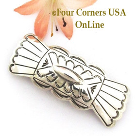 Symbolic Butterfly Stamped Sterling Silver Hair Clip Barrette Navajo Carson Blackgoat Four Corners USA OnLine Native American Silver Jewelry NAM-09123