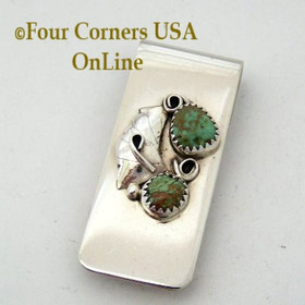 Green Turquoise Sterling Silver Money Clip Spiral Leaf Motif Native American Indian Dorothy Yazzie NAM-09119 Four Corners USA OnLine