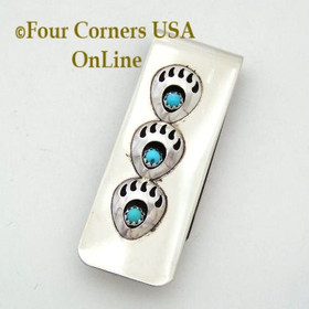 Triple Bear Track Sterling Silver Turquoise Money Clip Native American Indian Virginia Long NAM-09120 Four Corners USA OnLine