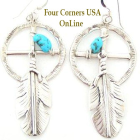 Medicine Wheel Turquoise Feather Earrings Artisan Ben Begay Four Corners USA Native American Silver Jewelry (NAER-092019A)