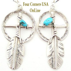 Medicine Wheel Sterling Silver Leverback Earrings with Turquoise and Feathers Four Corners USA OnLine Jewelry Navajo Ben Begay NAER-092019B