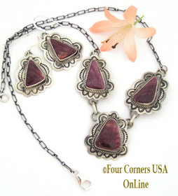 Purple Spiny Oyster Earrings Necklace Set Sterling Silver Jewelry by Native American Navajo Samantha Tso NAN-09036 Four Corners USA OnLine