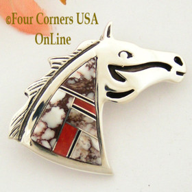 Wild Horse Coral Channel Inlay Horse Head Pin Pendant Combination Four Corners USA OnLine Native American Jewelry by Navajo Ervin Hoskie NAP-09422