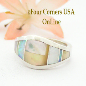 Size 7 Mother of Pearl Contemporary Inlay Ring NAR-09571 Navajo Artisan Robert Vandever Four Corners USA OnLine Native American Silver Jewelry