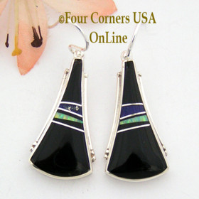 Onyx, Lapis and Fire Opal Native American Indian Navajo Inlay Earrings Jewelry by Larry Chavez Four Corners USA OnLine NAER-092038