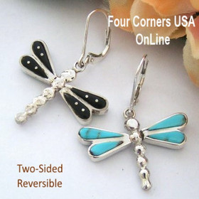 Two Sided Reversible Inlay Turquoise Dragonfly Earrings Merle House Four Corners USA OnLine Native American Indian Silver Jewelry NAER-092041