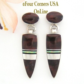 Bulls Eye Tiger Eye and Fire Opal Inlay Earrings Navajo Marie Tsosie Four Corners USA OnLine Native American Indian Jewelry NAER-13002