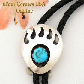 Bear Paw Good Omen Sterling Leather Bolo Sandra Johnson Native American Indian Silver Jewelry Four Corners USA OnLine