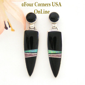Onyx Blue Fire Opal Inlay Post Earrings Contemporary Design Navajo Silversmith Marie Tsosie Four Corners USA OnLine Jewelry NAER-13007