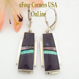 Bertrandite Fire Opal Contemporary Inlay Dangle Earrings by Native American Silversmith John Charley NAER-13009 Four Corners USA OnLine Jewelry