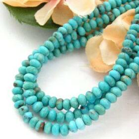 4mm Rondelle Kingman Blue Turquoise Beads Designer 16 Inch Strands Jewelry Making Supplies (KNG-13011)