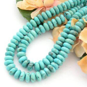 8mm Rondelle Kingman Blue Turquoise Beads Designer 16 Inch Strands Jewelry Making Supplies (KNG-13012)