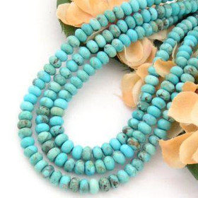 6mm Rondelle Kingman Blue Turquoise Beads Designer 16 Inch Strands Jewelry Making Supplies (KNG-13010)