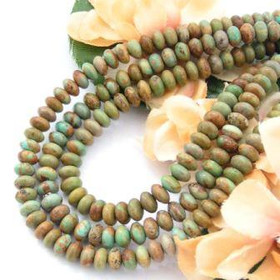 6mm Rondelle Green Copper Kingman Turquoise Beads Designer 16 Inch Strand G1 Jewelry Making Supplies (KNG-13018-G1)