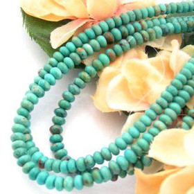 4mm Rondelle Green Blue Kingman Turquoise Beads Designer 16 Inch Strand G2 Jewelry Making Supplies (KNG-13016-G2)