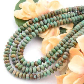5mm Rondelle Green Kingman Turquoise Beads Designer 16 Inch Strand G2 Jewelry Making Supplies (KNG-13017-G2)