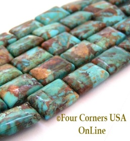 18mm Rectangle Kingman Boulder Turquoise Beads Designer 16 Inch Strand Four Corners USA OnLine Jewelry Making Supplies KNG-13032