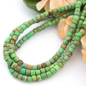 4mm Rounded Heishi Mohave Green Kingman Turquoise Beads 22 Inch Strand Jewelry Making Supplies
