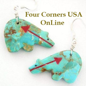 Carved Turquoise Stone Heartline Fetish Bear Earrings Four Corners USA Native American Indian Jewelry Jeff Howe (NAER-13017)