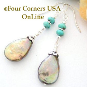 Turquoise and Bronze Cocoa Teardrop Freshwater Pearls Sterling Silver Beaded Earrings FCE-12040 Four Corners USA OnLine Artisan Handcrafted Jewelry