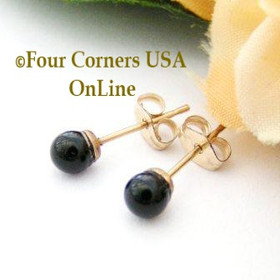 Black Onyx 14K Gold Filled 4mm Round Stud Post Pierced Earrings Four Corners USA OnLine Artisan Handcrafted Jewelry