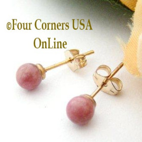 Rhodonite 14K Gold Filled 4mm Round Stud Post Pierced Earrings Four Corners USA Handcrafted Artisan Jewelry