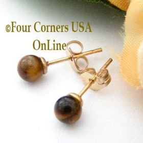 Tiger Eye 14K Gold Filled 4mm Round Stud Post Pierced Earrings Four Corners USA Handcrafted Artisan Jewelry